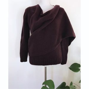 EUC UK Poetry Plum Lambswool Wrap Cardigan Sweater